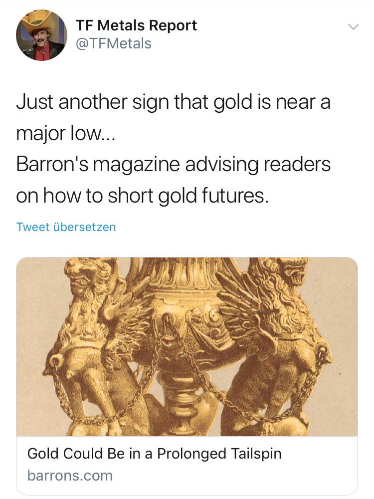 Barron´s magazine advising readers on how to short gold