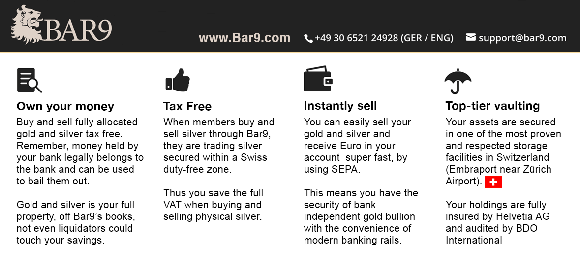 Bar9 - your precious metals holding in Switzerland