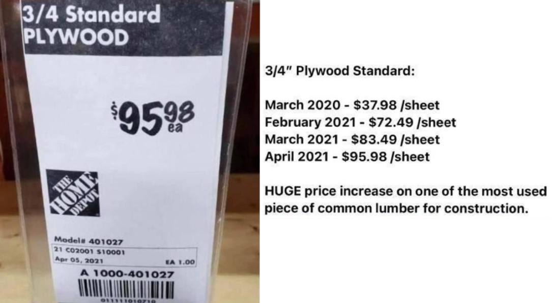 Lumber Prices Plywood as of April 2021