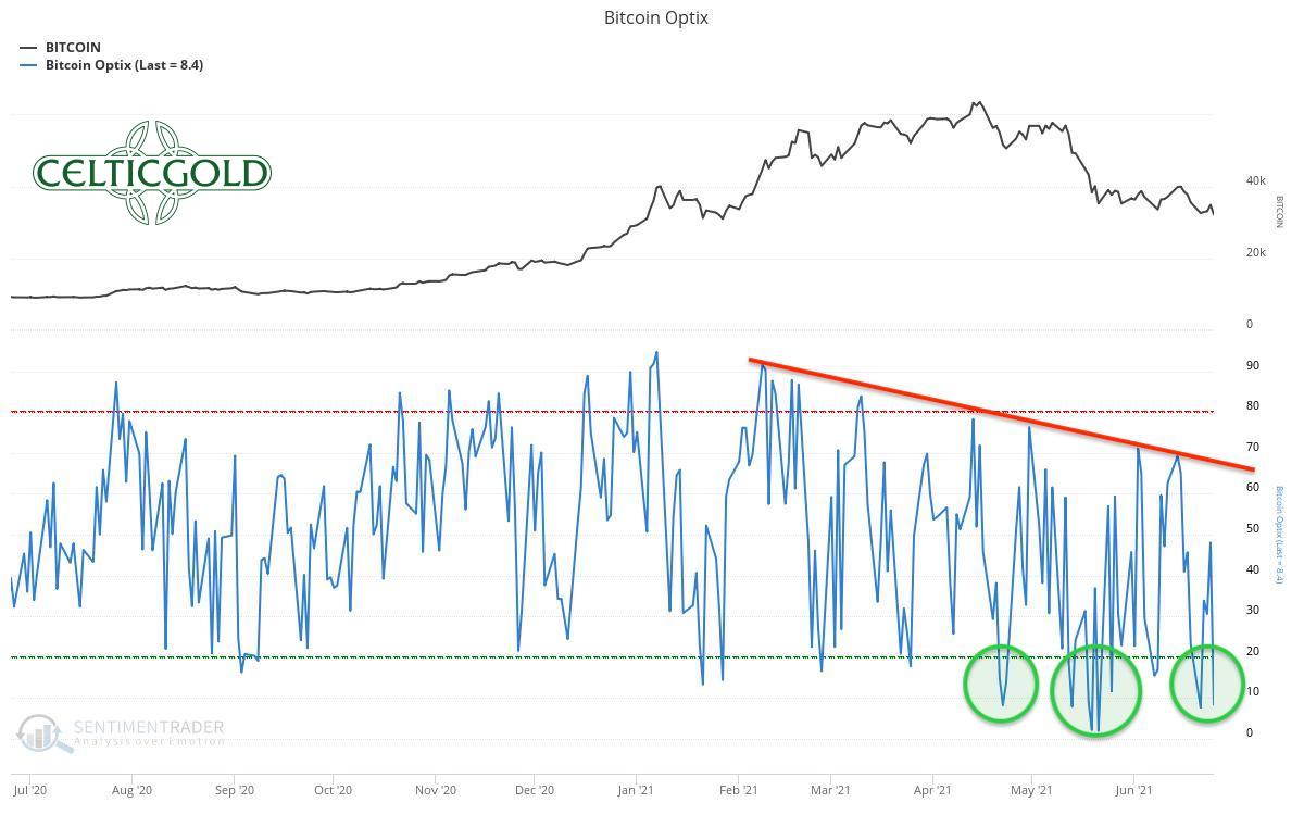 Bitcoin Optix as of June 27th, 2021. Source: Sentimentrader. Bitcoin - First contrarian buy opportunity