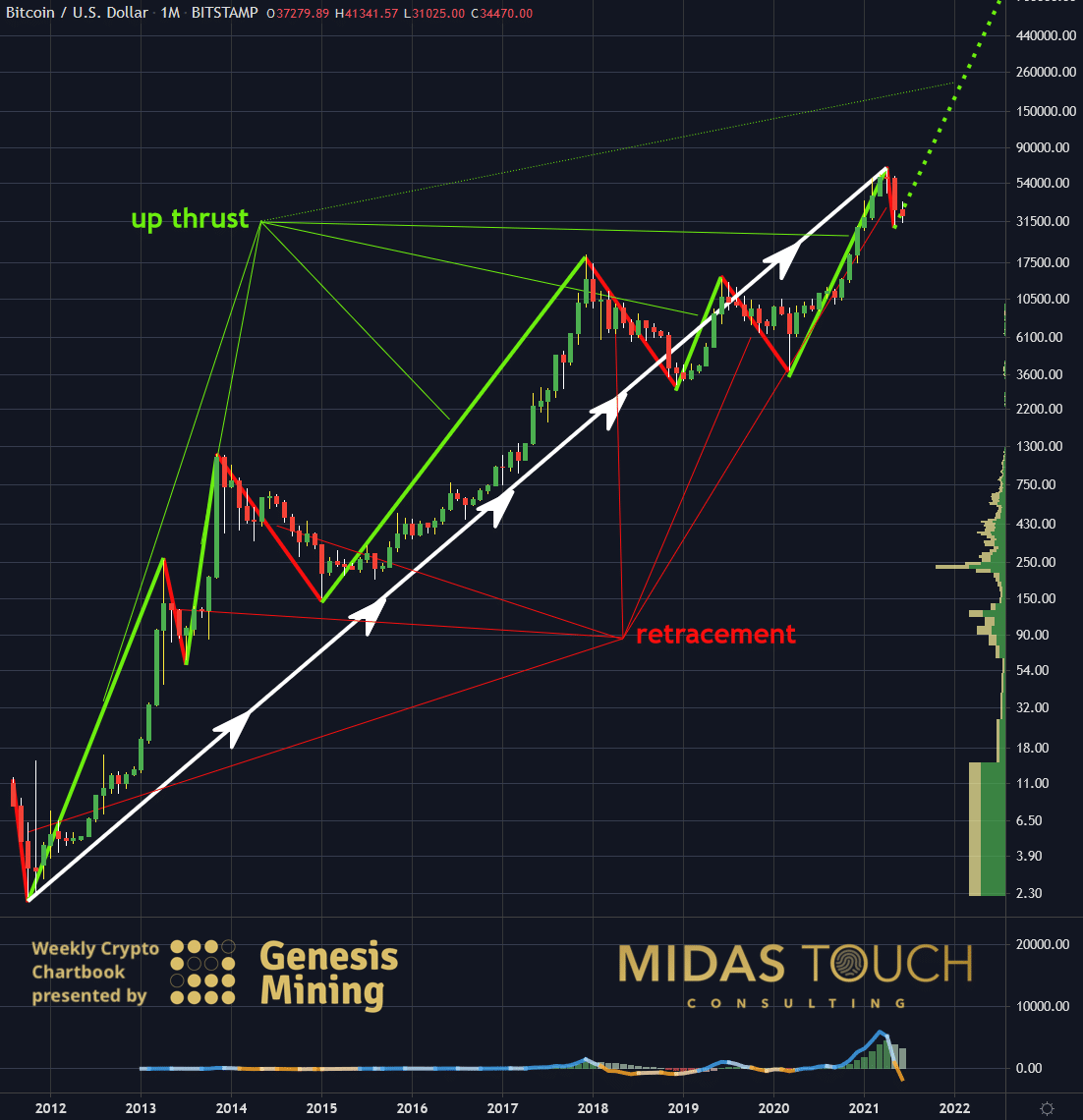 Bitcoin in US-Dollar, monthly chart as of June 21st, 2021.
