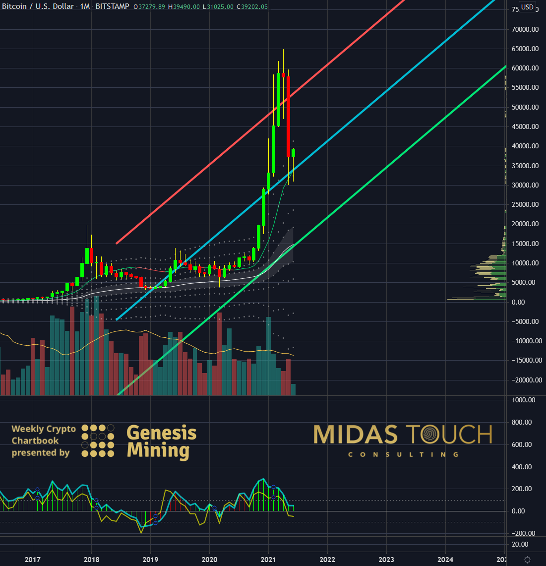 Bitcoin in US-Dollar, monthly chart as of June 14th, 2021