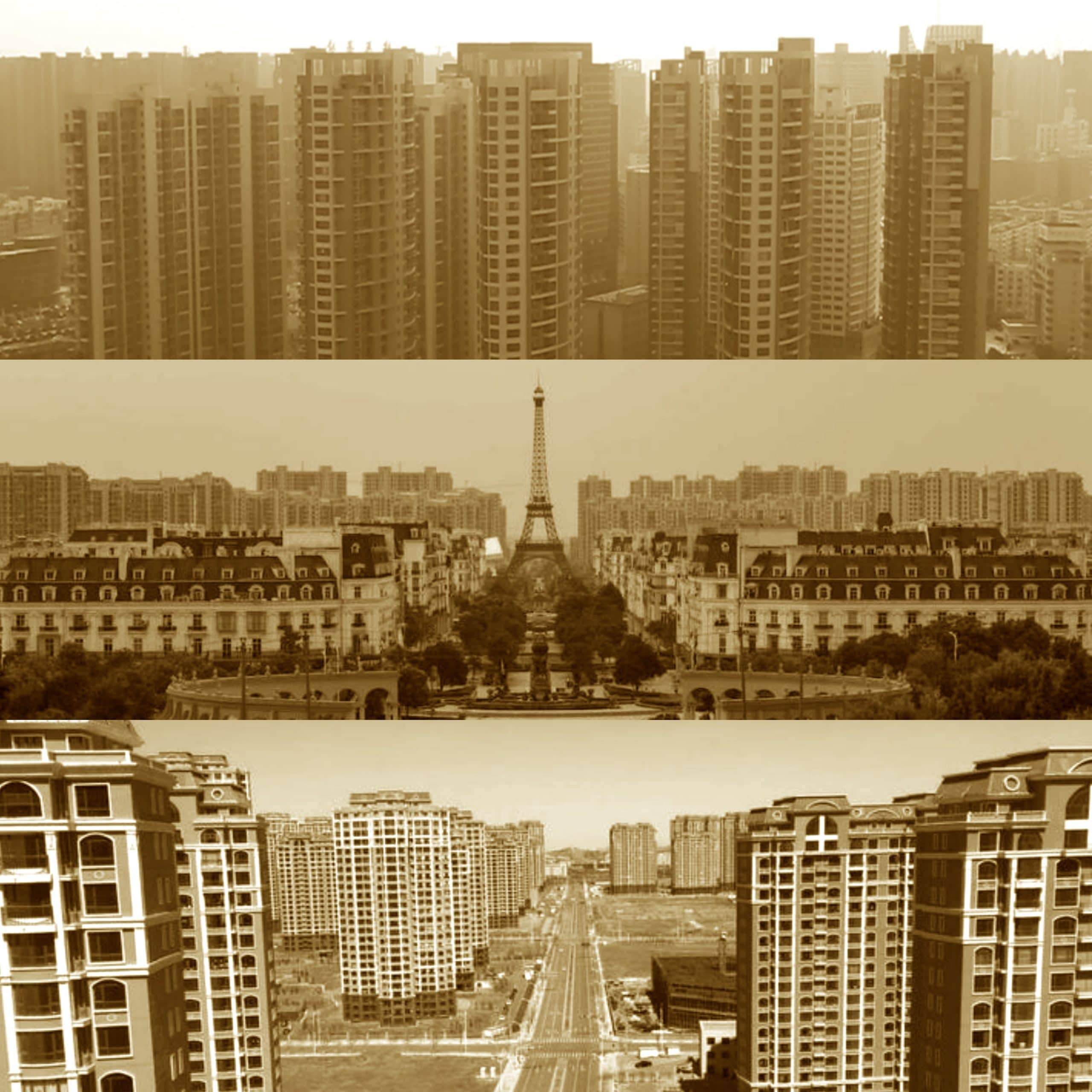 Ghost towns (with a replica of the Eiffel Tower!) in China